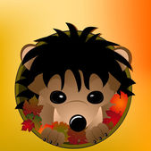 Cute hedgehog peeking out from a hole full of autumn leaves — Stock Vector