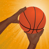 Hands reaching to catch a basketball on an orange starburst background — Stockvektor