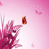 Colourful butterfly settling on purple vines and fronds — Stock Vector