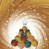 Chirstmas bauble tree reflected on a glossy surface — Stock Vector