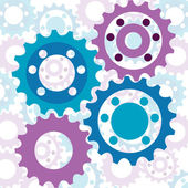 Vector background with glossy interlinked cogs in subtle colours — Stock Vector