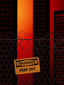 Empty city blocked off by fence and barbed wire with warning sign — Stock Vector