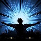 DJ with headphones entertaining a crowd of with bright light exploding behind — Stock Vector