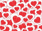 用粉色涂鸦心抽象情人节背景 — 图库矢量图片