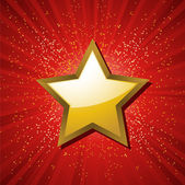 Festive background with gold star, red starburst and gllitter burst — Stock Vector