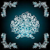 Cut out ornate floral pattern on a turquoise background — Stock Vector