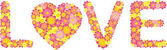 Valentine message with pink and yellow flowers spelling out the word 'love' — Stock Vector
