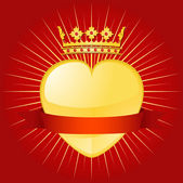 Banner y corona de san valentín — Vector de stock