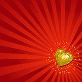 Gold valentine disco hearts — Stock Vector