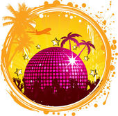 Vector illustration of shiny abstract party design with disco ball on color style urban background — Stock Vector