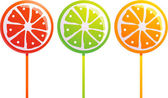 Set of the fruity lollipops — Stock Vector