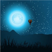 Hot air balloon in the form of the moon — Stock Vector