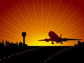 Plane in the sky. Vector illustration — Stock Vector