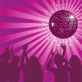 Purple disco ball party — Stock Vector