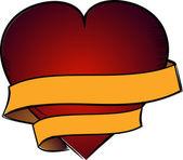 Ilustração com um coração vermelho dos namorados — Vetor de Stock