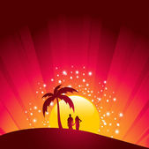 Romántico atardecer tropical — Vector de stock