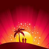 ロマンチックな熱帯の夕日 — ストックベクタ
