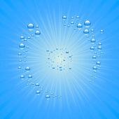 Blauwe water druppels achtergrond — Stockvector