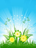 Yellow flowers under the blue sky — Stock Vector