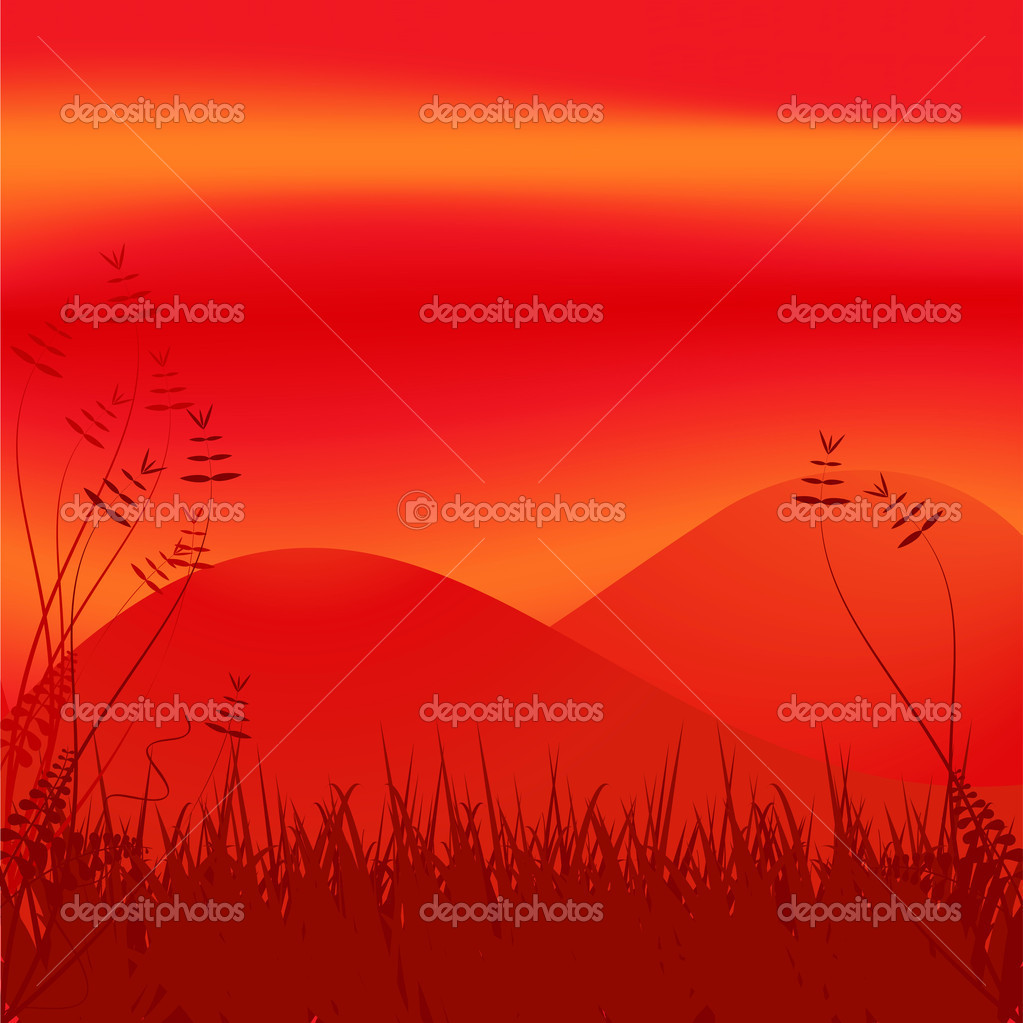 Abstract red hill side landscape with grass and wild plants  Stock Vector #12634381