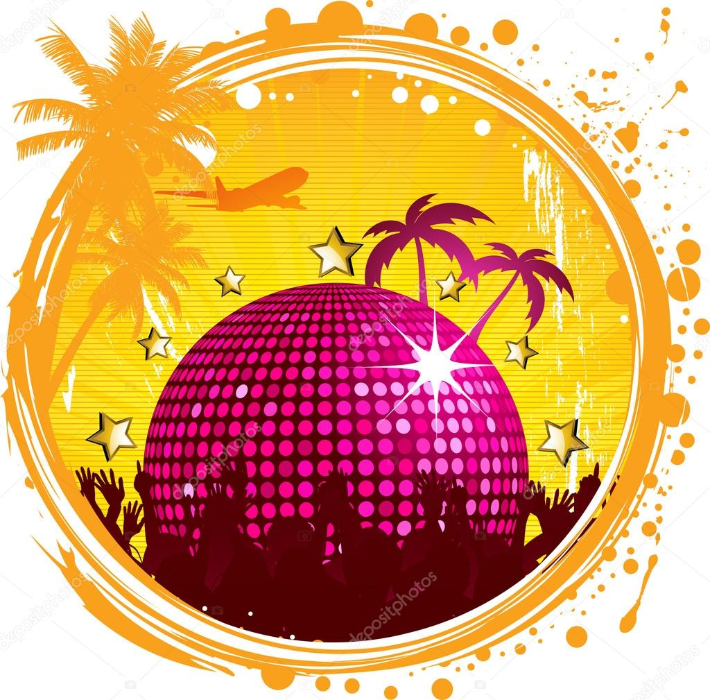 Vector illustration of shiny abstract party design with for Disco ball coloring page