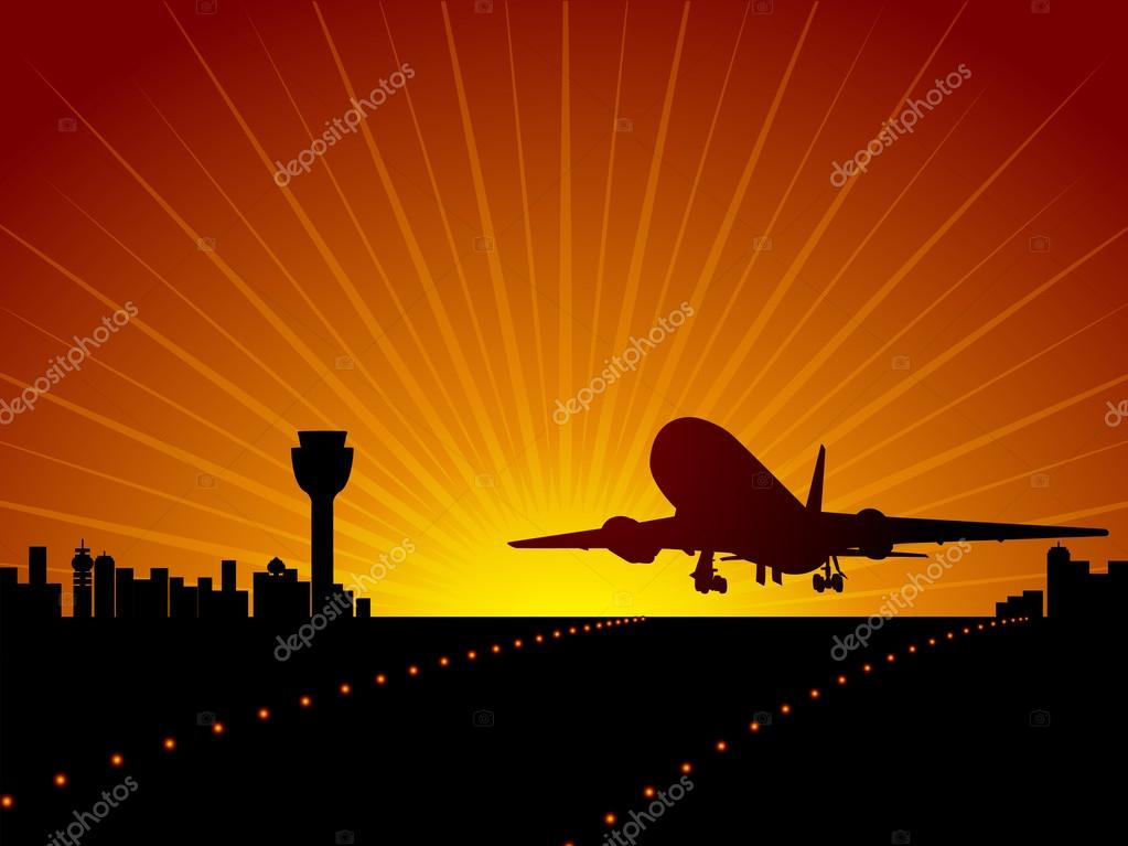 Plane in the sky. Vector illustration — Stock Vector #12635463