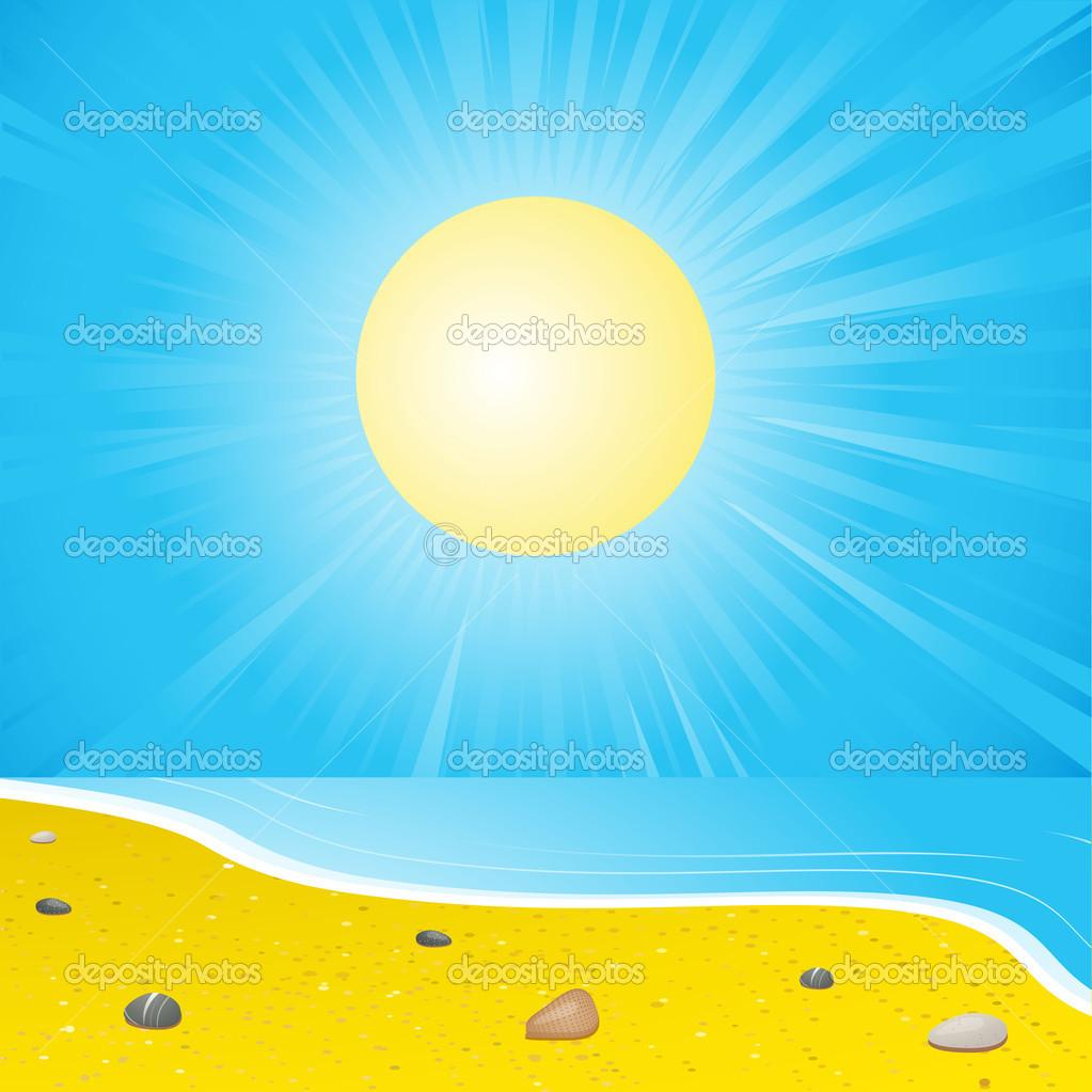 夏天海沙滩 — 矢量图片作者