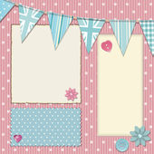 Pink polka dot srapbooking background — Stock Photo