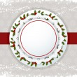 Christmas background label and ribbon - Stock Vector