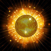 Gold disco ball starburst — Stock Vector