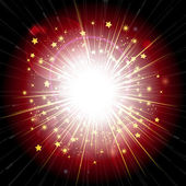 Red and gold light explosion — Stock Vector