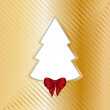Gold Christmas backgound with cut out tree — Stock Vector