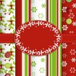 Christmas scrap book background with ribbon and border — Stockvectorbeeld