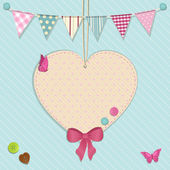 Heart decoration and bunting background — Stock Vector