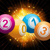2013 bingo lottery balls background with gold star burst — Stock Vector