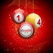 Bingo ball Christmas background red — Stock Vector