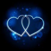 Interlocked glowing hearts background blue — Stock Vector