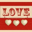 Love and hanging hearts background — Stock Vector