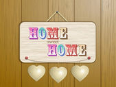 Home sign on wood background — Stock Vector