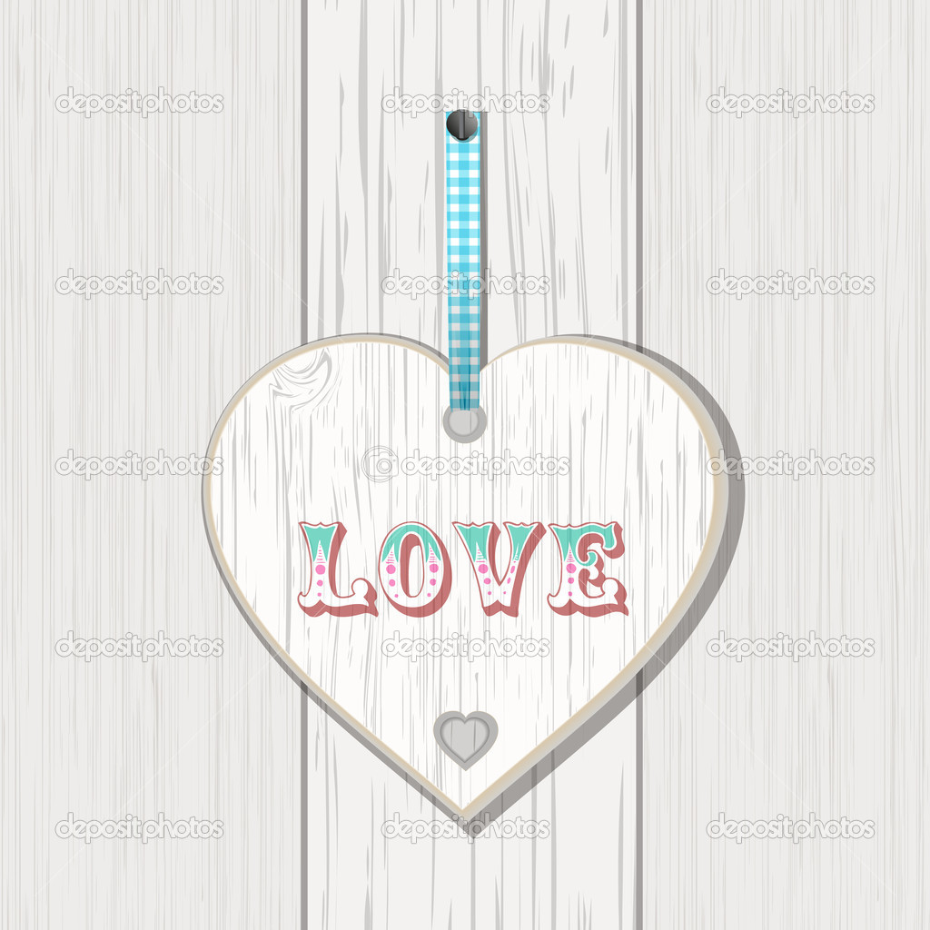 Wooden heart sign with lovee message on a white woodent background  Stock Vector #18367143