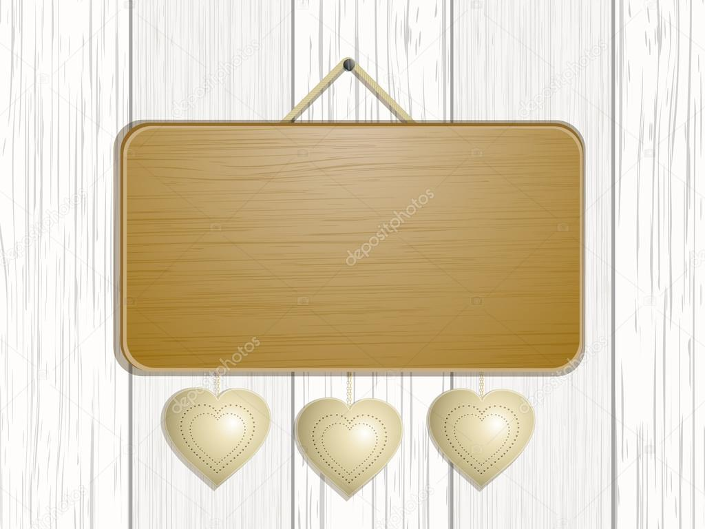 Wooden sign with hanging hearts on a white wood background — Stock Vector #18367155