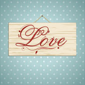 Love script on wood — Stock Vector