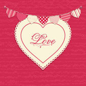 Love heart and bunting background — Stock Vector