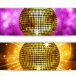 Disco ball banners — Stock Vector