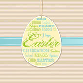 Easter background with hanging label — Stock Vector