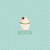 Cupcake and polka dot background — Stock Vector