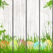 Easter egg background on wood — Stock Vector