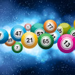 Royalty-Free Stock Vector Image: Bingo balls on a glowing blue background