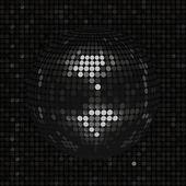 Black disco ball on black mosaic background — Stock Vector