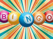 Bingo balls on retro starburst — Stock Vector